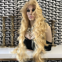 """Carla Curly Gold Blond Hair Lace Front Wig 31"""" 113"""
