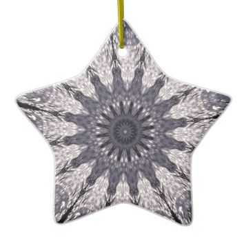 Kaleidoscope Flower Shades of Blue and Grey Ceramic Ornament