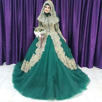 Muslim Women Dark Green Ball Gown Wedding Dresses 2017 Long Sleeves High Neck Lace Appliqued Boho Bridal Gowns vestido de noiva