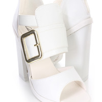 White Peep Toe Strappy Large Buckle Single Sole Chunky Heel Booties Faux Leather