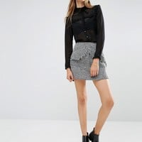Lost Ink Tweed Mini Skirt With Front Pockets