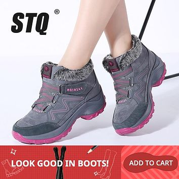 Women ankle boots  high wedge waterproof boots