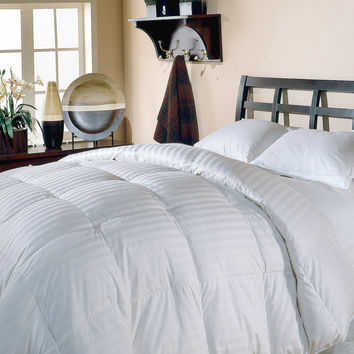 350 TC Cotton Damask Stripe  White Down Comforter White