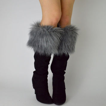 Gray Fur Boot Cuffs FREE SHIPPING - Fur Cuffs, Faux Fur Boot Socks, Boot Toppers, Grey Faux Fur Boot Covers, Fur Leg Warmers