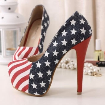Womens Platform Pumps American Flag Stiletto Super High Heels Shoes = 5708932161