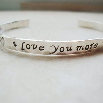 I love you more stunning sterling silver handstamped cuff with hearts