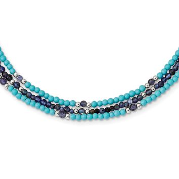 925 Sterling Silver Iolite, Lapis Quartz, Recon. Turquoise 3-Strand with 1 to 2in Extension Necklace, Bracelet