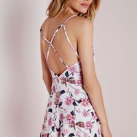 Missguided - Jersey Floral Strappy Back Playsuit White