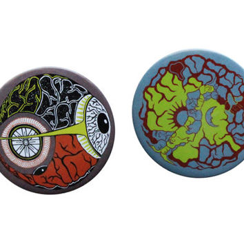 Pinback Button- Eye Ball Brain Button Pin- Set of 2 Button pins- Psychedelic Badge pin- backpack pins -Lsd Pin- Trippy Pin- Badge Pin