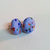 Blue Speckle Earrings from Kute As a Button Shop