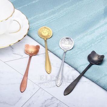 Cute Doraemon Hello Kitty Dessert Tea Coffee Spoon Stainless Steel Spoon For Home Kitchen Bar Coffee Shop Accessories