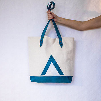 Spring Sale, Leather Canvas Shopper, Holographic Turquoise Tote, Beach Bag, Geometric Hobo, Tote Bag, Laptop Purse, Mother's Day Gift