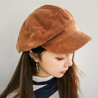 MASCOTT Corduroy anise newsboy cap Retro literary female  snapback cap Leisure hat accessories