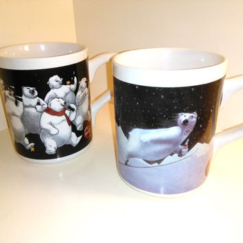 Two Vintage Coca Cola Polar Bear Mugs --- Gibson Coca Cola Coffee Mugs