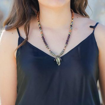 Sandalwood and Garnet Mala Necklace - Love and Perseverance