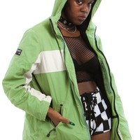 Vintage Y2K Sage Two-Tone Hooded Jacket - One Size Fits Many