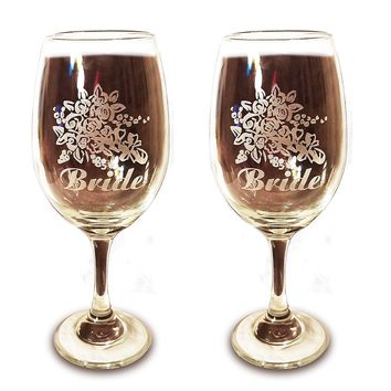 Laser Engraved LGBTQ Bride and Bride Glasses - 20 oz Wine Glasses - Wedding Toasting Set of 2 - Couples Gifts - Engagement Gift - Original Wedding Gifts - Custom Wedding nal Wedding Gifts - Custom Wedding