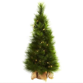 Artificial Silk Tree -3 Ft Christmas Tree With Burlap Bag And Clear Lights
