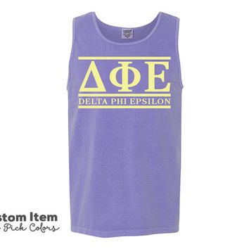DPhiE Delta Phi Epsilon Custom Comfort Colors Classic Sorority Tank