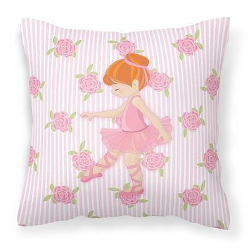 Ballerina Red Head Point Fabric Decorative Pillow BB5170PW1414