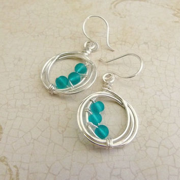 Little Teal Sea Glass Hoop Earrings - Signature Design