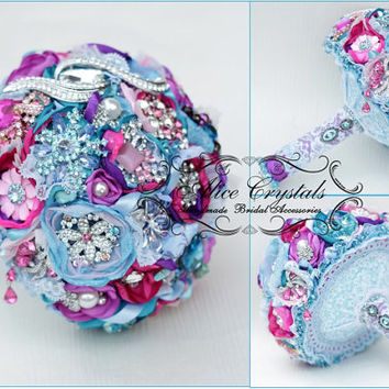 Brooch bouquet. fuchsia, lilac, purple, light blue and teal wedding brooch bouquet, Jeweled Bouquet.