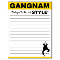 "Magnetic Gangnam Notepad ""Things To Do With Style"" 50-Sheet Notepad 4.25"" x 5.5"" Funny Memo Pad"