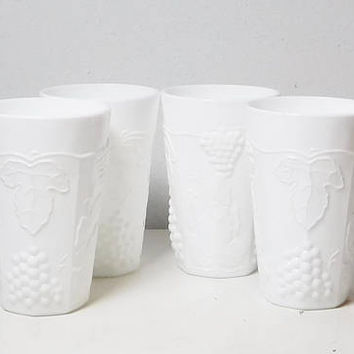 """White Milk Glass Glasses Small Juice Water 4 Available Vases Wedding Holiday Decor for Beverages Flowers Candles 4"""" Tall"""