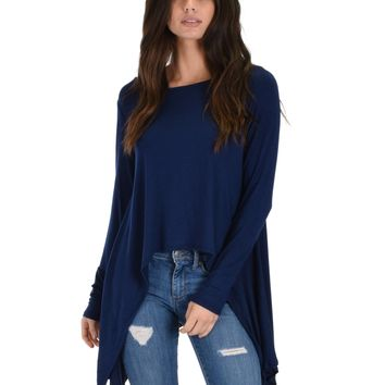 Lyss Loo Shift and Swing Long Sleeve Navy Tunic Top