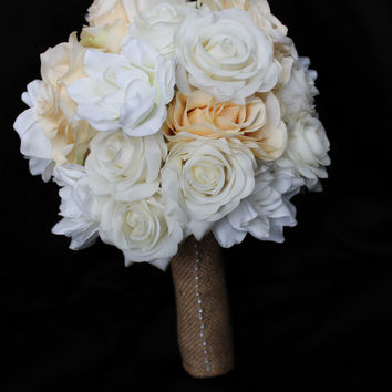 A Rustic cream and Ivory Rose Wedding Bouquet Collection