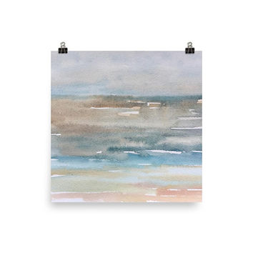 Large abstract print, Watercolor seascape painting, Living room art, Office painting, pastel beach decor, neutral abstract, minimalist art