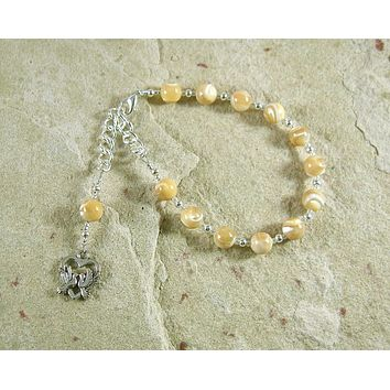 Aphrodite Prayer Bead Bracelet in Mother of Pearl: Greek Goddess of Love and Beauty