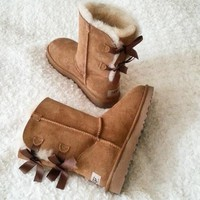 UGG:: bow leather boots boots in tube Pink G
