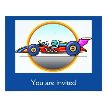 Racecar Race Car Birthday Party Invitations