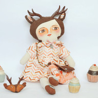 Deer Girl Doll, Reindeer / Cloth doll / Handmade art doll / stuffed doll 15.6 x 5.9 inch, brown and orange