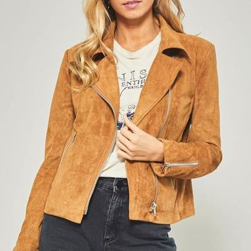 Soft Faux Suede Moto Jacket