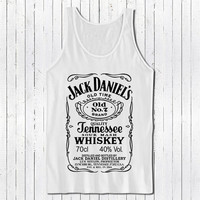 jack daniels tshirt black tank top with white printing color populer womens and mens tank top