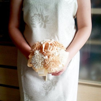 SMALL sola flowers wedding bridesmaid bouquet flower girl wand peach ivory creme satin Handle rose zinnia toss bouquet