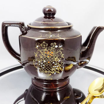 """Beaded Brown Teapot from Japan, 6"""" Tall, Vintage Redware Teapot Signed JAPAN, Brown Glazed with Moriage Style, Hand painted flowers"""