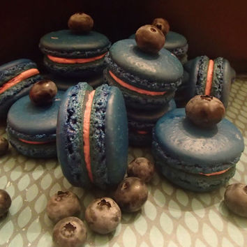 Macarons Macaroons French Almond Cookies Blueberry with blueberry buttercream or Jam 12 pc