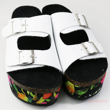 Falling Floral White Two Buckle Platform Sandals