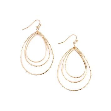 Matte Tri Teardrop Layered Earrings