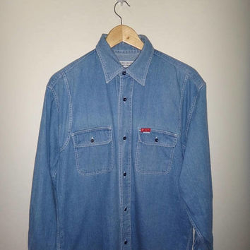 TAKEO KIKUCHI Daily Wear Japanese Designer Denim Work Wear Chambray Shirt Vtg Takeo Kikuchi Japanese deaigner long sleeve Men's Casual shirt