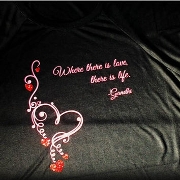 Valentine's Shirt, Where There Is Love, There Is Life, Red Valentines Heart Design, Love Clothing, Pink Hearts Shirt Design, AppleCopter