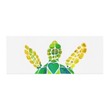 """Catherine Holcombe """"Turtle Love"""" Green Teal Bed Runner"""