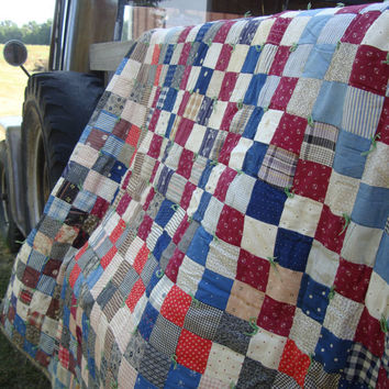 Vintage Cotton Patch Plaid Quilt or Blanket Primitive Shabby Chic