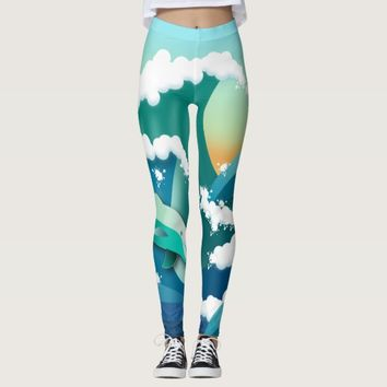 summer vibes swimming with the dolphins leggings