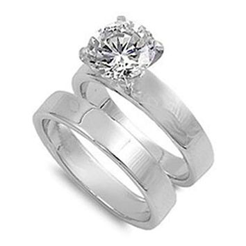 Cubic Zirconia Sterling Silver with 3mm Wide Bands Engagement Ring Set