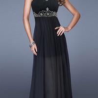 Black Sweetheart Neckline Rhinestone Beaded High Waisted Maxi Dress