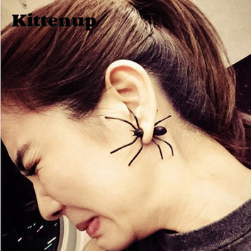 Kittenup Fashion Simulation Black Spider Stud Earrings For Women Animal Piercing Jewelry 0519